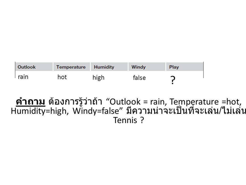 คำถาม ต้องการรู้ว่าถ้า Outlook = rain, Temperature =hot, Humidity=high, Windy=false มีความน่าจะเป็นที่จะเล่น / ไม่เล่น Tennis .