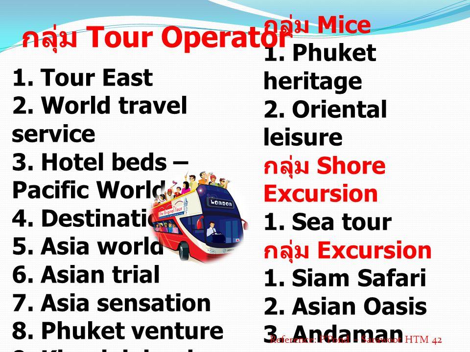1. Tour East 2. World travel service 3. Hotel beds – Pacific World 4. Destination Asia 5. Asia world 6. Asian trial 7. Asia sensation 8. Phuket ventur