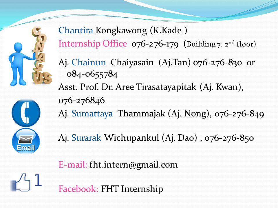 Chantira Kongkawong (K.Kade ) Internship Office 076-276-179 ( Building 7, 2 nd floor) Aj. Chainun Chaiyasain (Aj.Tan) 076-276-830 or 084-0655784 Asst.