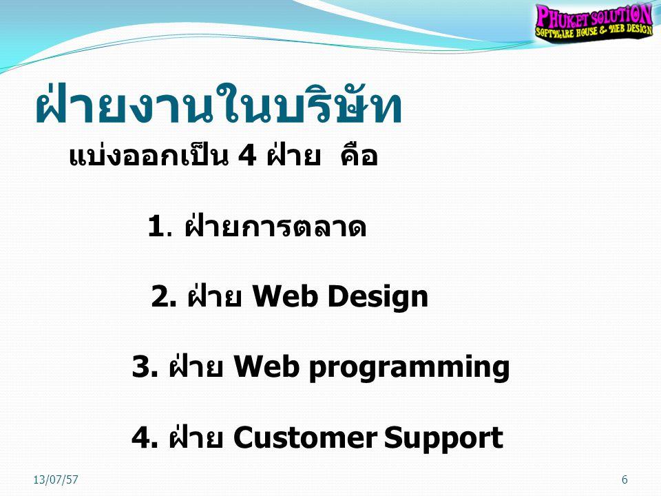 ฝ่ายงานในบริษัท แบ่งออกเป็น 4 ฝ่าย คือ 1. ฝ่ายการตลาด 2. ฝ่าย Web Design 3. ฝ่าย Web programming 4. ฝ่าย Customer Support 13/07/576