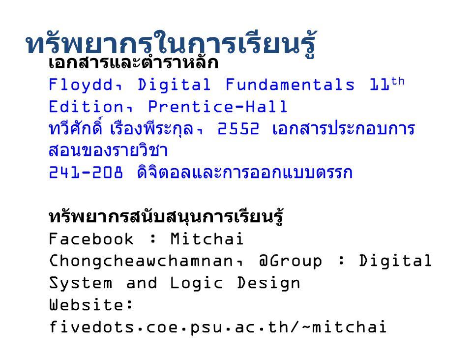 ทรัพยากรในการเรียนรู้ เอกสารและตำราหลัก Floydd, Digital Fundamentals 11 th Edition, Prentice-Hall ทวีศักดิ์ เรืองพีระกุล, 2552 เอกสารประกอบการ สอนของรายวิชา 241-208 ดิจิตอลและการออกแบบตรรก ทรัพยากรสนับสนุนการเรียนรู้ Facebook : Mitchai Chongcheawchamnan, @Group : Digital System and Logic Design Website: fivedots.coe.psu.ac.th/~mitchai