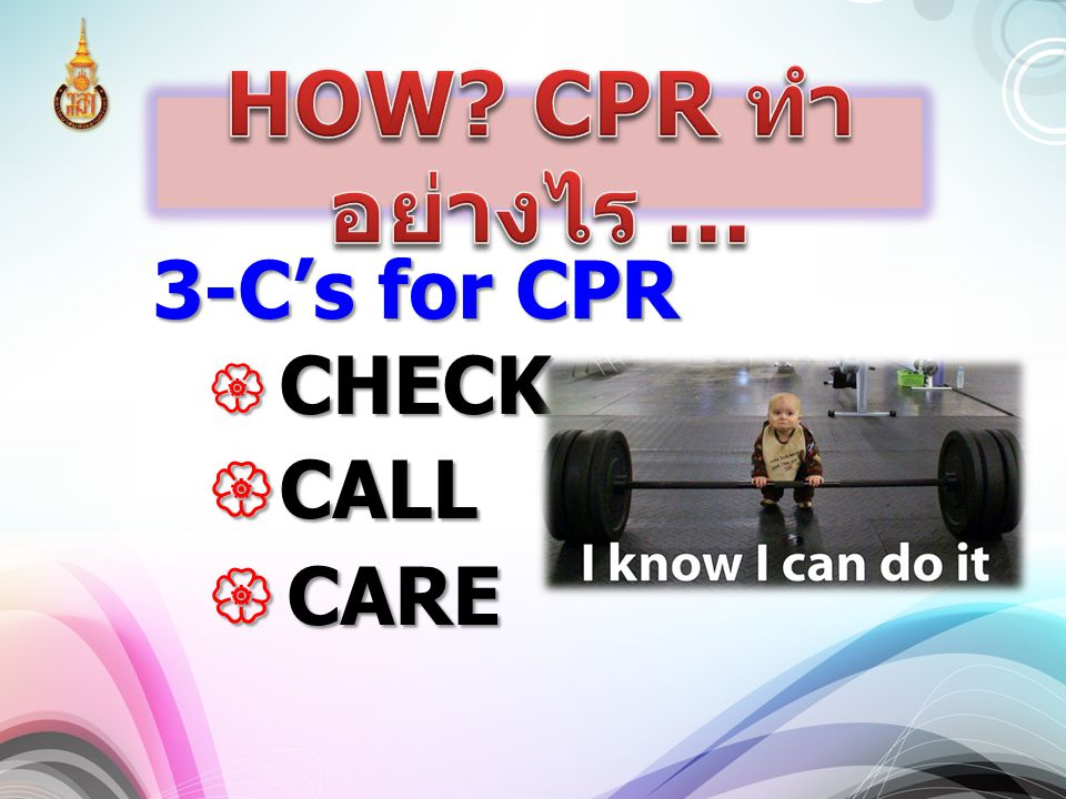 3-C's for CPR  CHECK  CALL  CARE