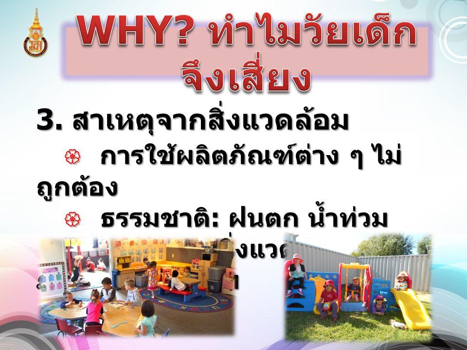 3. สาเหตุจากสิ่งแวดล้อม  การใช้ผลิตภัณฑ์ต่าง ๆ ไม่ ถูกต้อง  ธรรมชาติ : ฝนตก น้ำท่วม  กายภาพ : สิ่งแวดล้อม ภายใน - ภายนอกฯ