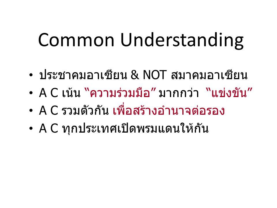 Common Understanding ประชาคมอาเซียน & NOT สมาคมอาเซียน A C เน้น ความร่วมมือ มากกว่า แข่งขัน A C รวมตัวกัน เพื่อสร้างอำนาจต่อรอง A C ทุกประเทศเปิดพรมแดนให้กัน