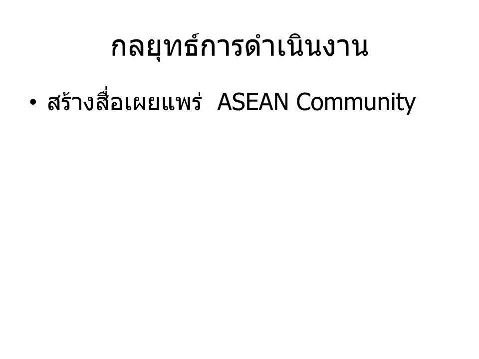 กลยุทธ์การดำเนินงาน สร้างสื่อเผยแพร่ ASEAN Community