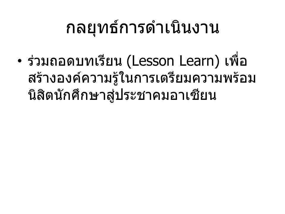 กลยุทธ์การดำเนินงาน ร่วมถอดบทเรียน (Lesson Learn) เพื่อ สร้างองค์ความรู้ในการเตรียมความพร้อม นิสิตนักศึกษาสู่ประชาคมอาเซียน