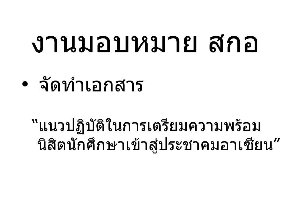 งานมอบหมาย สกอ จัดทำเอกสาร แนวปฏิบัติในการเตรียมความพร้อม นิสิตนักศึกษาเข้าสู่ประชาคมอาเซียน