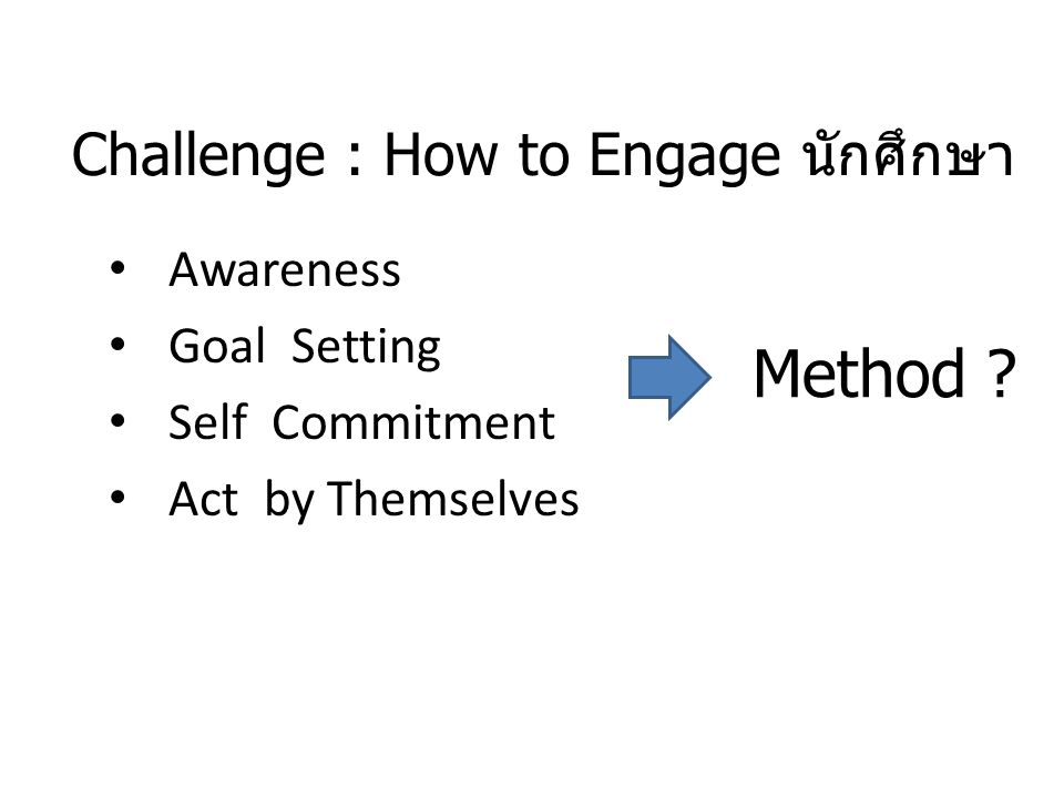 Challenge : How to Engage นักศึกษา Awareness Goal Setting Self Commitment Act by Themselves Method