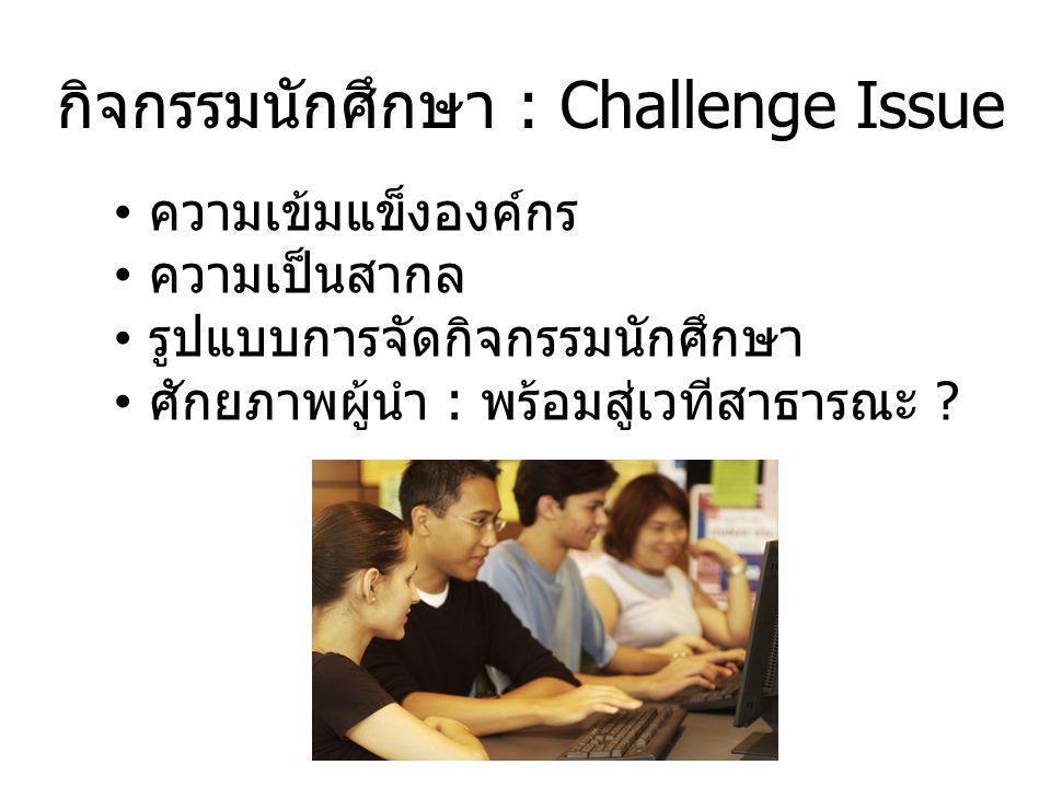 กิจกรรมนักศึกษา : Challenge Issue ความเข้มแข็งองค์กร ความเป็นสากล รูปแบบการจัดกิจกรรมนักศึกษา ศักยภาพผู้นำ : พร้อมสู่เวทีสาธารณะ