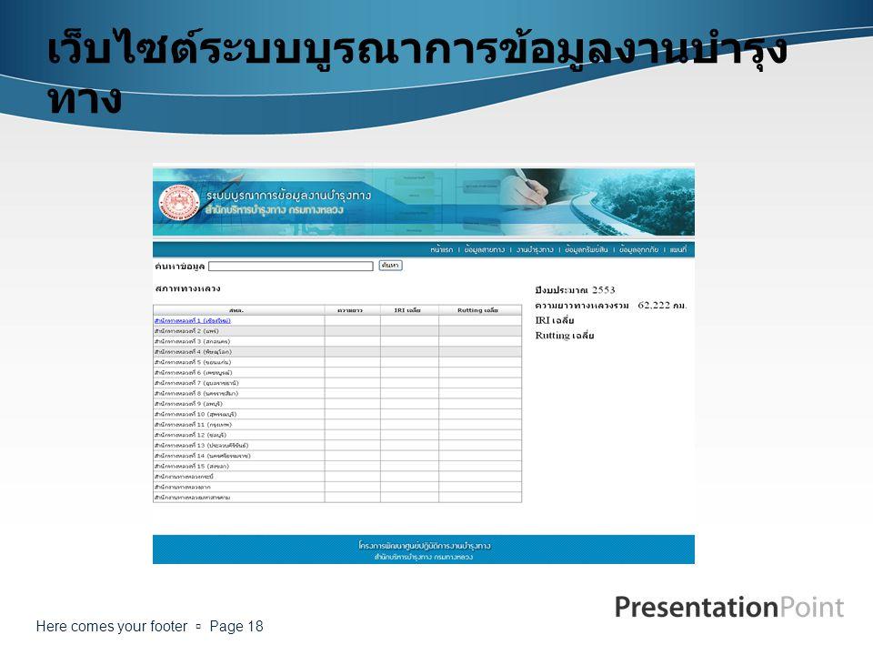 Here comes your footer  Page 18 เว็บไซต์ระบบบูรณาการข้อมูลงานบำรุง ทาง