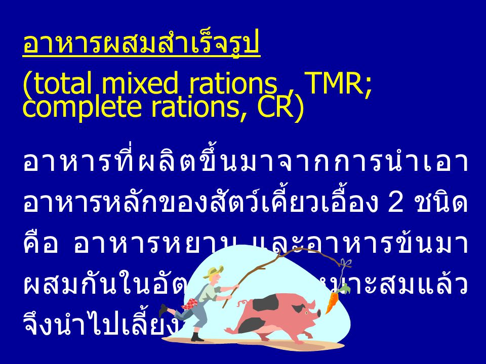 อาหารผสมสำเร็จรูป (total mixed rations, TMR; complete rations, CR) อาหารที่ผลิตขึ้นมาจากการนำเอา อาหารหลักของสัตว์เคี้ยวเอื้อง 2 ชนิด คือ อาหารหยาบ แล