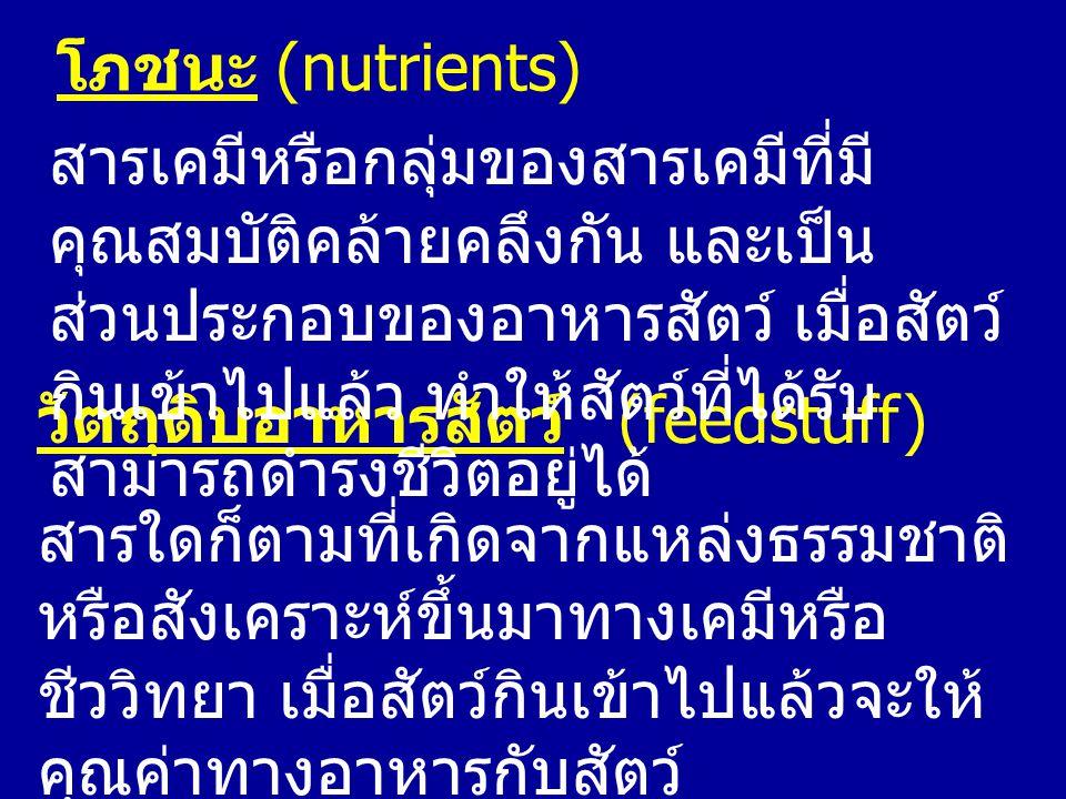 โภชนะ (nutrients) วัตถุดิบอาหารสัตว์ (feedstuff) สารใดก็ตามที่เกิดจากแหล่งธรรมชาติ หรือสังเคราะห์ขึ้นมาทางเคมีหรือ ชีววิทยา เมื่อสัตว์กินเข้าไปแล้วจะใ