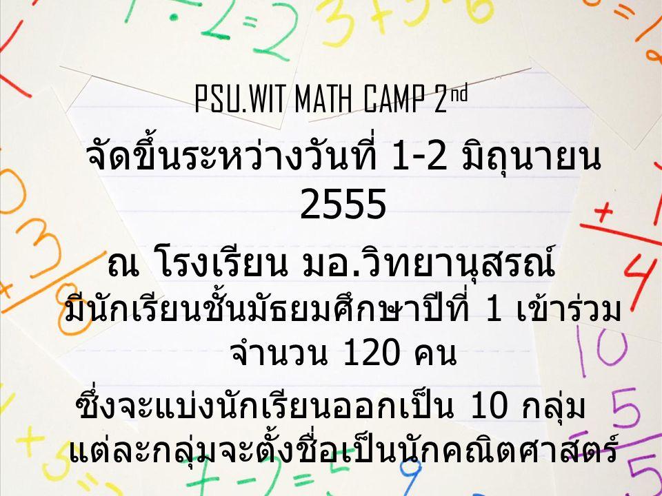 PSU.WIT MATH CAMP 2 nd จัดขึ้นระหว่างวันที่ 1-2 มิถุนายน 2555 ณ โรงเรียน มอ.