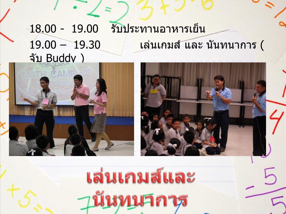 19.30 - 20.30 บรรยายพิเศษเกี่ยวกับคณิตศาสตร์ โดย วิทยากรพิเศษ 20.30 - 21.30 สนุกคิด กับ เกมส์คณิต 21.30 - 22.00 รับประทานนม + อาหารว่าง 22.00 เข้าที่พัก ทำภารกิจส่วนตัว นอน