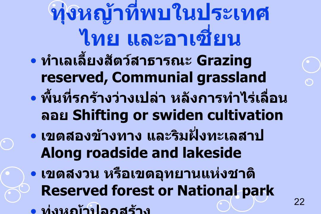 22 ทุ่งหญ้าที่พบในประเทศ ไทย และอาเซี่ยน ทำเลเลี้ยงสัตว์สาธารณะ Grazing reserved, Communial grassland พื้นที่รกร้างว่างเปล่า หลังการทำไร่เลื่อน ลอย Sh