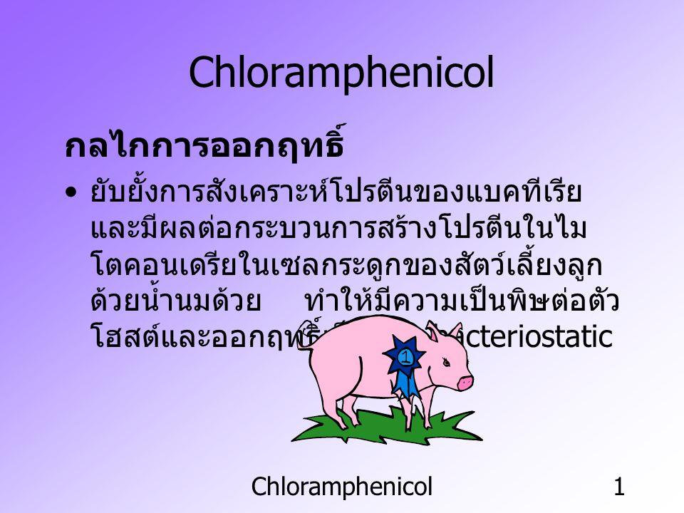 Chloramphenicol1 กลไกการออกฤทธิ์ ยับยั้งการสังเคราะห์โปรตีนของแบคทีเรีย และมีผลต่อกระบวนการสร้างโปรตีนในไม โตคอนเดรียในเซลกระดูกของสัตว์เลี้ยงลูก ด้วย