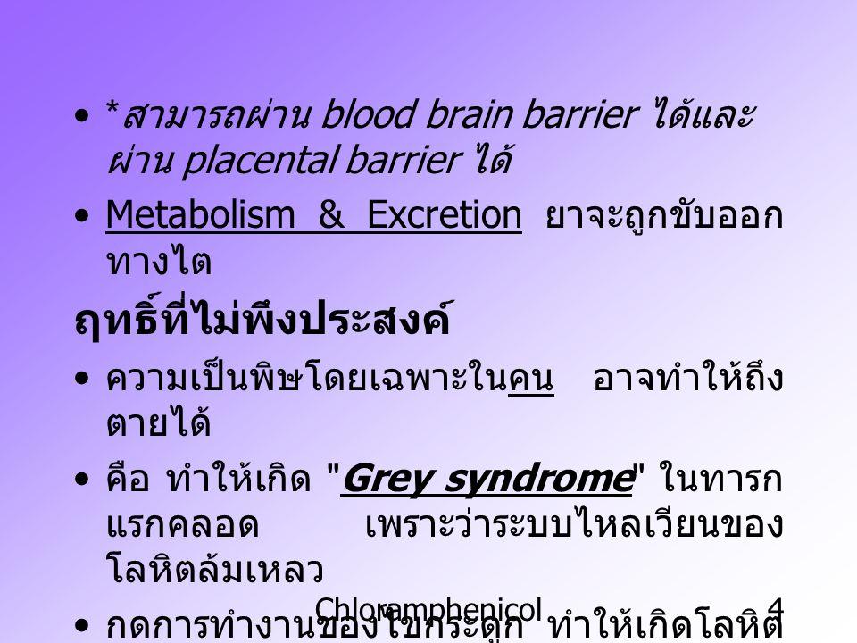 Chloramphenicol4 * สามารถผ่าน blood brain barrier ได้และ ผ่าน placental barrier ได้ Metabolism & Excretion ยาจะถูกขับออก ทางไต ฤทธิ์ที่ไม่พึงประสงค์ ค