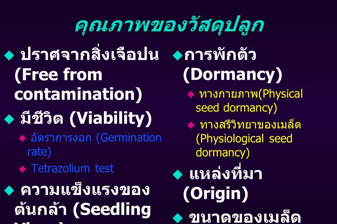 คุณภาพของวัสดุปลูก  ปราศจากสิ่งเจือปน (Free from contamination)  มีชีวิต (Viability)  อัตราการงอก (Germination rate)  Tetrazolium test  ความแข็งแรงของ ต้นกล้า (Seedling Vigor)  มีอายุ (Longivity)  การพักตัว (Dormancy)  ทางกายภาพ (Physical seed dormancy)  ทางสรีวิทยาของเมล็ด (Physiological seed dormancy)  แหล่งที่มา (Origin)  ขนาดของเมล็ด (Seed size)