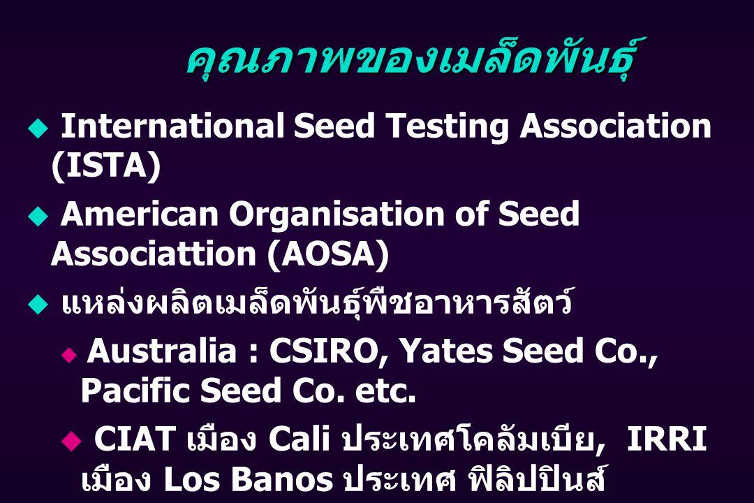 คุณภาพของเมล็ดพันธุ์  International Seed Testing Association (ISTA)  American Organisation of Seed Associattion (AOSA)  แหล่งผลิตเมล็ดพันธุ์พืชอาหารสัตว์  Australia : CSIRO, Yates Seed Co., Pacific Seed Co.