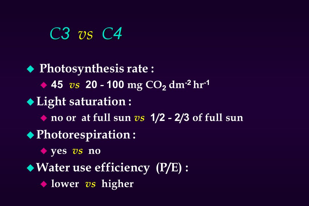 C3 vs C4 u Photosynthesis rate : u 45 vs 20 - 100 mg CO 2 dm -2 hr -1 u Light saturation : u no or at full sun vs 1/2 - 2/3 of full sun u Photorespira