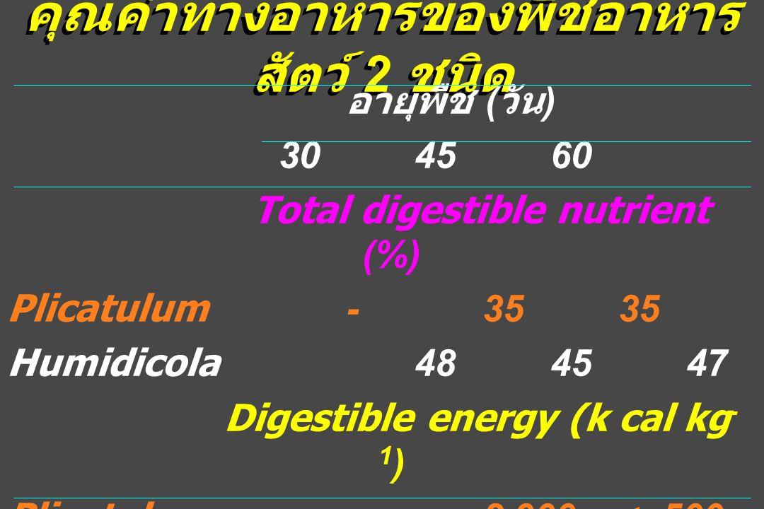 คุณค่าทางอาหารของพืชอาหาร สัตว์ 2 ชนิด อายุพืช ( วัน ) 304560 Total digestible nutrient (%) Plicatulum-3535 Humidicola484547 Digestible energy (k cal kg - 1 ) Plicatulum-2.900<.500 Humidicola2.1602.028 2.054