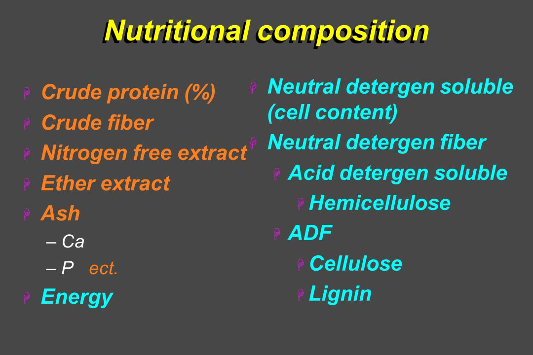 Nutritional composition H Crude protein (%) H Crude fiber H Nitrogen free extract H Ether extract H Ash –Ca –P ect.