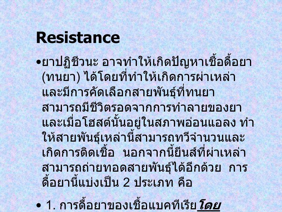 Resistance ยาปฏิชีวนะ อาจทำให้เกิดปัญหาเชื้อดื้อยา ( ทนยา ) ได้โดยที่ทำให้เกิดการผ่าเหล่า และมีการคัดเลือกสายพันธุ์ที่ทนยา สามารถมีชีวิตรอดจากการทำลาย