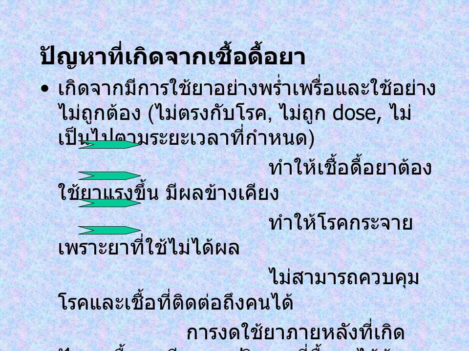 ปัญหาที่เกิดจากเชื้อดื้อยา เกิดจากมีการใช้ยาอย่างพร่ำเพรื่อและใช้อย่าง ไม่ถูกต้อง ( ไม่ตรงกับโรค, ไม่ถูก dose, ไม่ เป็นไปตามระยะเวลาที่กำหนด ) ทำให้เช