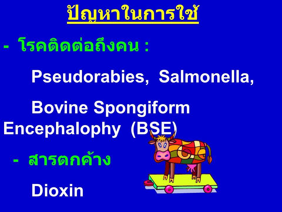 ปัญหาในการใช้ - โรคติดต่อถึงคน : Pseudorabies, Salmonella, Bovine Spongiform Encephalophy (BSE) - สารตกค้าง Dioxin