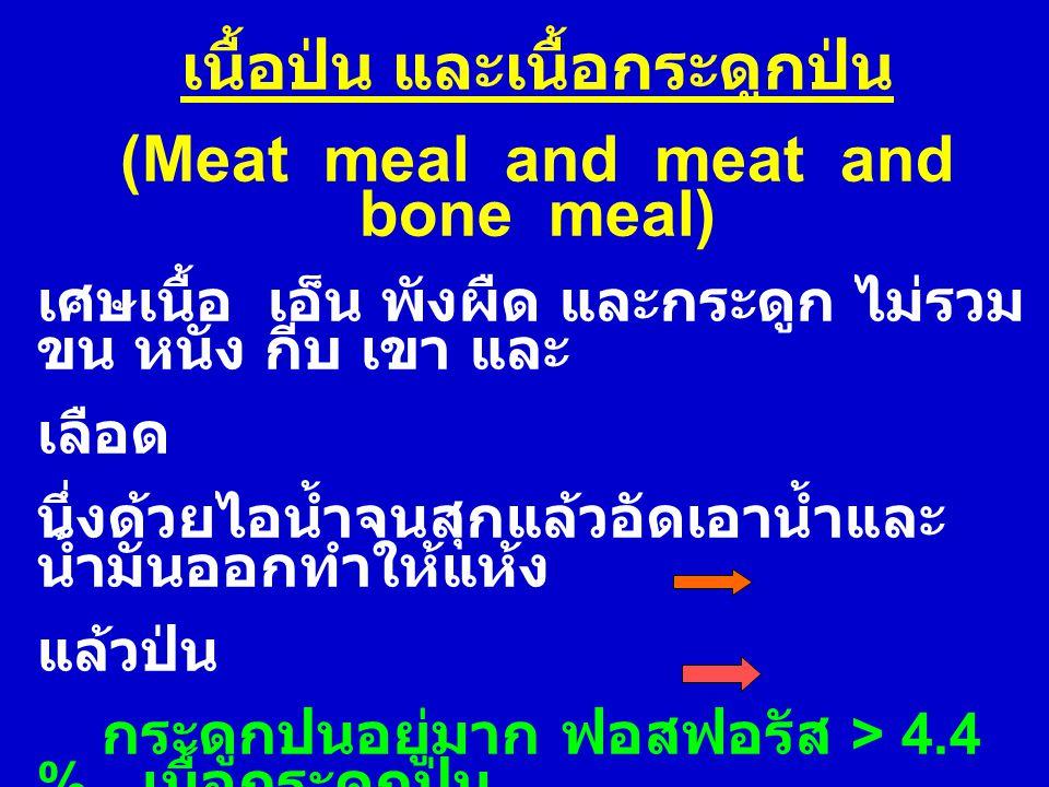 เนื้อป่น และเนื้อกระดูกป่น (Meat meal and meat and bone meal) เศษเนื้อ เอ็น พังผืด และกระดูก ไม่รวม ขน หนัง กีบ เขา และ เลือด นึ่งด้วยไอน้ำจนสุกแล้วอั