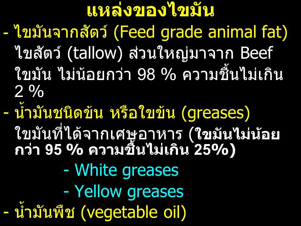 แหล่งของไขมัน - ไขมันจากสัตว์ (Feed grade animal fat) ไขสัตว์ (tallow) ส่วนใหญ่มาจาก Beef ใขมัน ไม่น้อยกว่า 98 % ความชื้นไม่เกิน 2 % - น้ำมันชนิดข้น ห