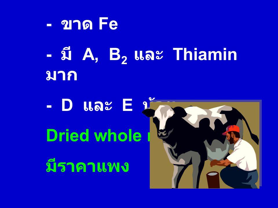 - ขาด Fe - มี A, B 2 และ Thiamin มาก - D และ E น้อย Dried whole milk มีราคาแพง