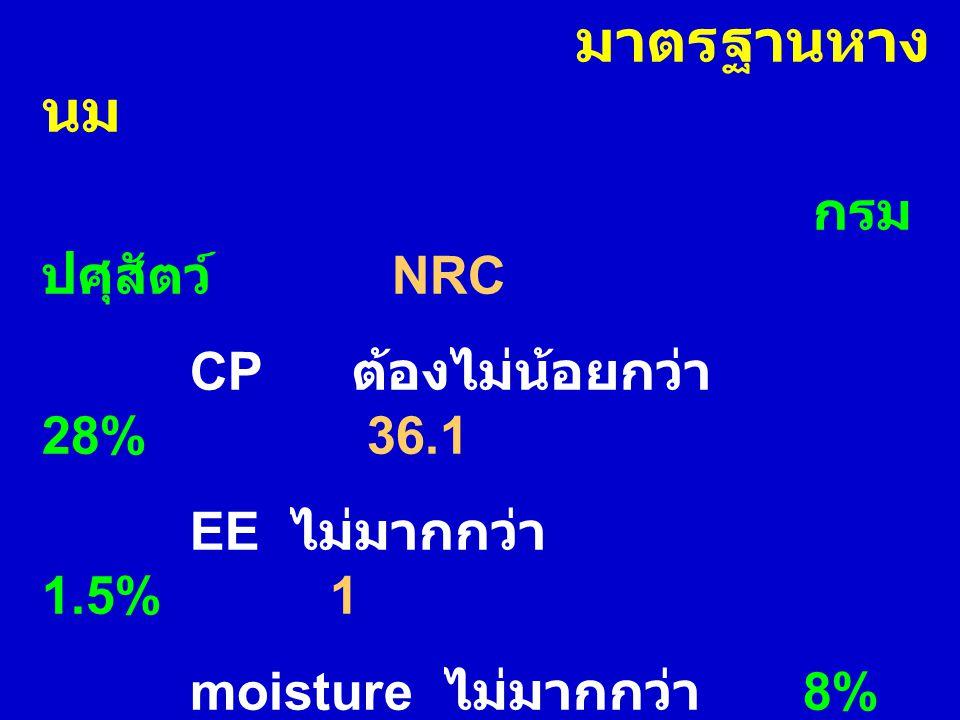 มาตรฐานหาง นม กรม ปศุสัตว์ NRC CP ต้องไม่น้อยกว่า 28% 36.1 EE ไม่มากกว่า 1.5%1 moisture ไม่มากกว่า 8% 7