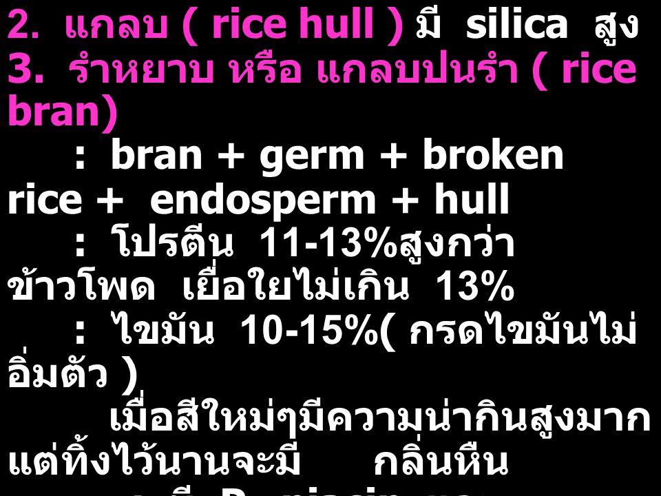2. แกลบ ( rice hull ) มี silica สูง 3. รำหยาบ หรือ แกลบปนรำ ( rice bran) : bran + germ + broken rice + endosperm + hull : โปรตีน 11-13% สูงกว่า ข้าวโพ