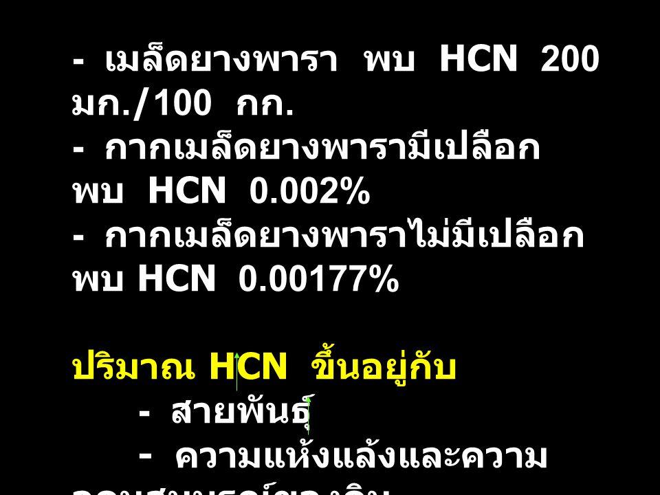 - เมล็ดยางพารา พบ HCN 200 มก./100 กก.
