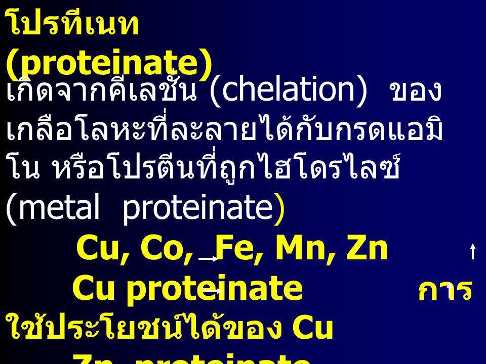 โปรทีเนท (proteinate) เกิดจากคีเลชั่น (chelation) ของ เกลือโลหะที่ละลายได้กับกรดแอมิ โน หรือโปรตีนที่ถูกไฮโดรไลซ์ (metal proteinate) Cu, Co, Fe, Mn, Z