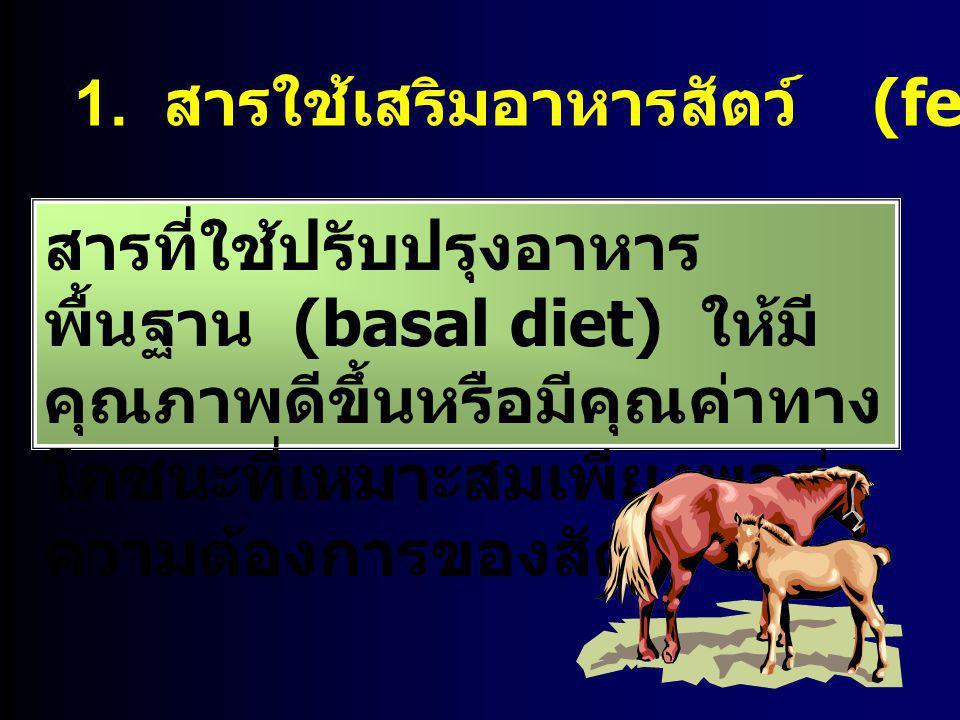 1. สารใช้เสริมอาหารสัตว์ (feed supplement) สารที่ใช้ปรับปรุงอาหาร พื้นฐาน (basal diet) ให้มี คุณภาพดีขึ้นหรือมีคุณค่าทาง โภชนะที่เหมาะสมเพียงพอต่อ ควา