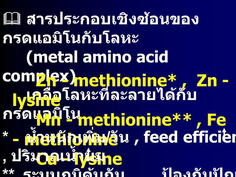  สารประกอบเชิงซ้อนของ กรดแอมิโนกับโลหะ (metal amino acid complex) เกลือโลหะที่ละลายได้กับ กรดแอมิโน Zn - methionine*, Zn - lysine Mn - methionine**,