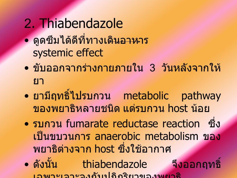 2. Thiabendazole ดูดซึมได้ดีที่ทางเดินอาหาร systemic effect ขับออกจากร่างกายภายใน 3 วันหลังจากให้ ยา ยามีฤทธิ์ไปรบกวน metabolic pathway ของพยาธิหลายชน
