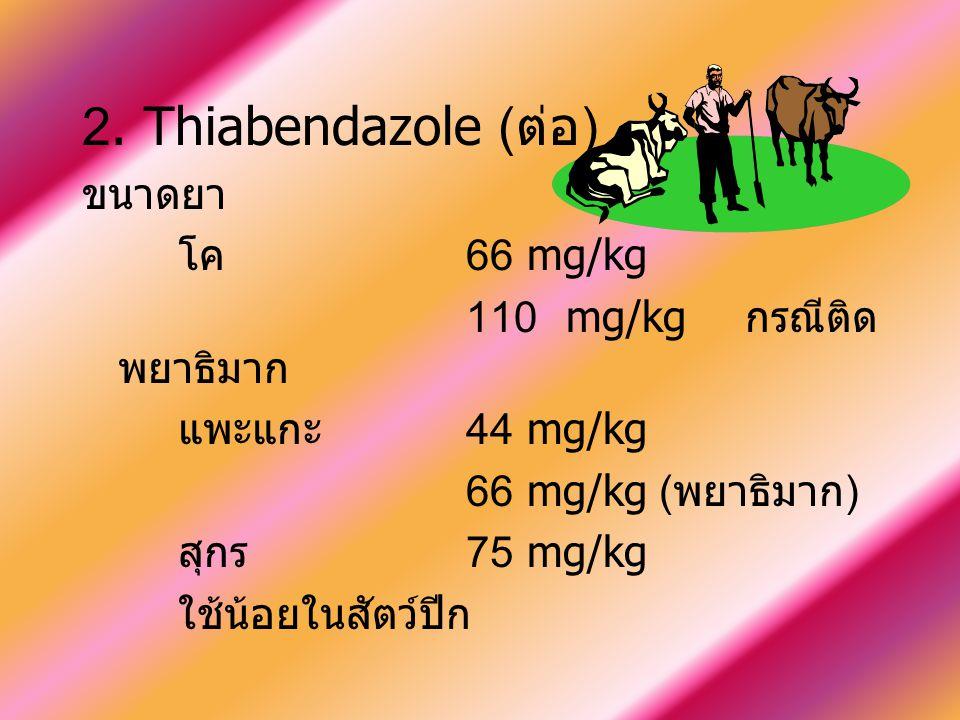 2. Thiabendazole ( ต่อ ) ขนาดยา โค 66 mg/kg 110 mg/kg กรณีติด พยาธิมาก แพะแกะ 44 mg/kg 66 mg/kg ( พยาธิมาก ) สุกร 75 mg/kg ใช้น้อยในสัตว์ปีก