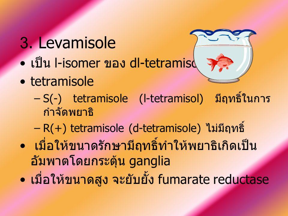 3. Levamisole เป็น l-isomer ของ dl-tetramisole tetramisole –S(-) tetramisole (l-tetramisol) มีฤทธิ์ในการ กำจัดพยาธิ –R(+) tetramisole (d-tetramisole)