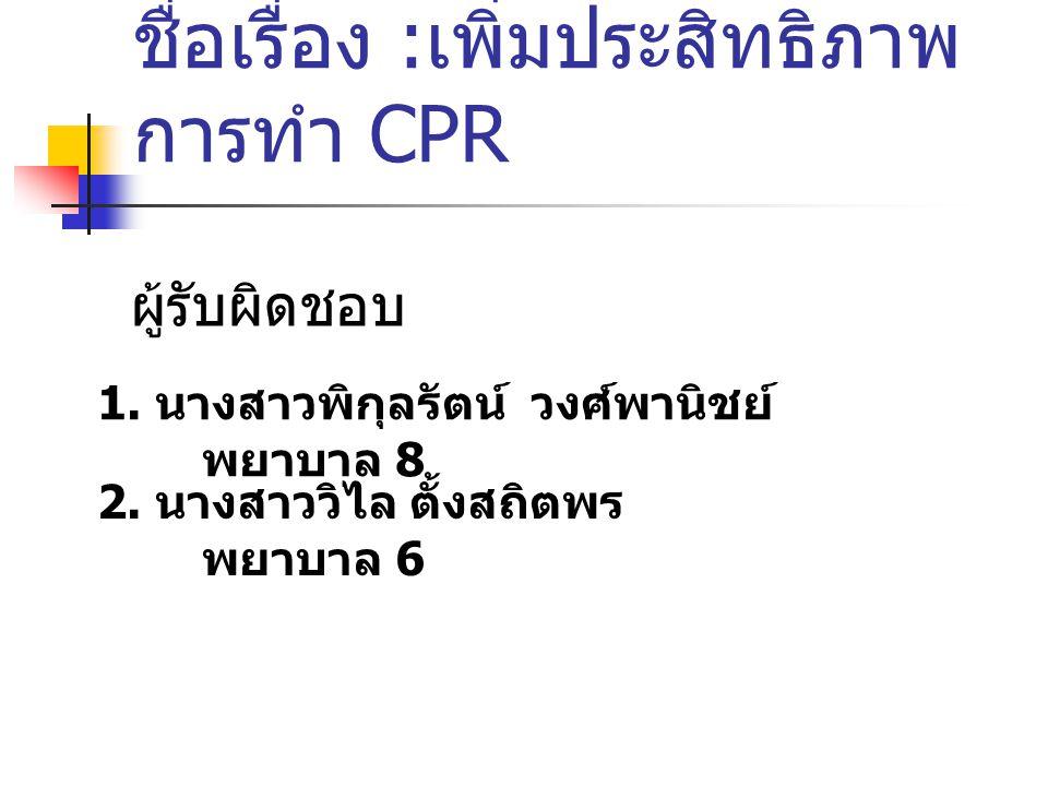 วัตถุประสงค์ 1.เพื่อความถูกต้อง และรวดเร็วใน การให้ยา CPR 2.