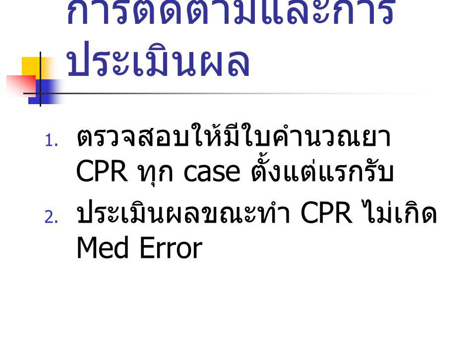 ผลที่คาดว่าจะได้รับ 1. ผู้ป่วยได้รับยาถูกต้อง รวดเร็ว ทันท่วงที ขณะ CPR 2. ผู้ป่วยปลอดภัยหลังทำ CPR