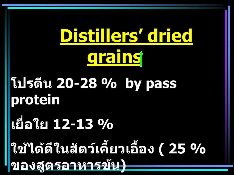 Distillers' dried soluble - เป็นแหล่งเสริมโปรตีน และ Vit B โดยเฉพาะ สัตว์เคี้ยวเอื้อง - โปรตีน 28-29% - เยื่อใย 3-4% - ให้พลังงานต่ำกว่า Distillers' dried grain - P:Ca 1:7