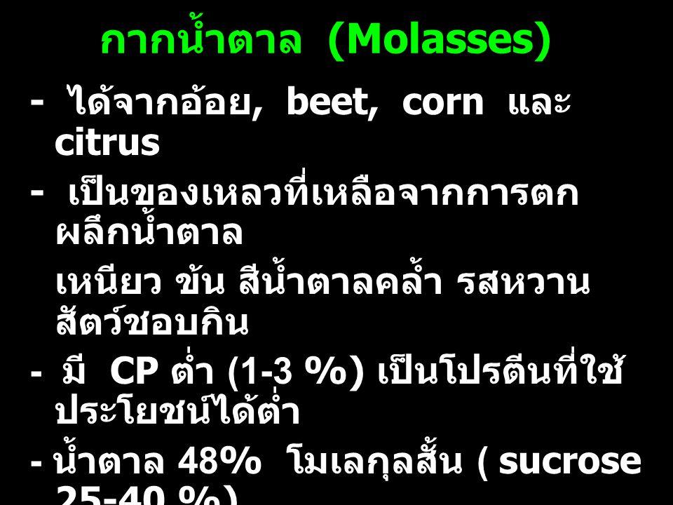 กากน้ำตาล (Molasses) - ได้จากอ้อย, beet, corn และ citrus - เป็นของเหลวที่เหลือจากการตก ผลึกน้ำตาล เหนียว ข้น สีน้ำตาลคล้ำ รสหวาน สัตว์ชอบกิน - มี CP ต่ำ (1-3 %) เป็นโปรตีนที่ใช้ ประโยชน์ได้ต่ำ - น้ำตาล 48% โมเลกุลสั้น ( sucrose 25-40 %) - Ca, P, K, biotin, choline, naicine และ pantothenic acid สูง - เป็นยาระบายอ่อนๆ กินมาก ท้องเสีย