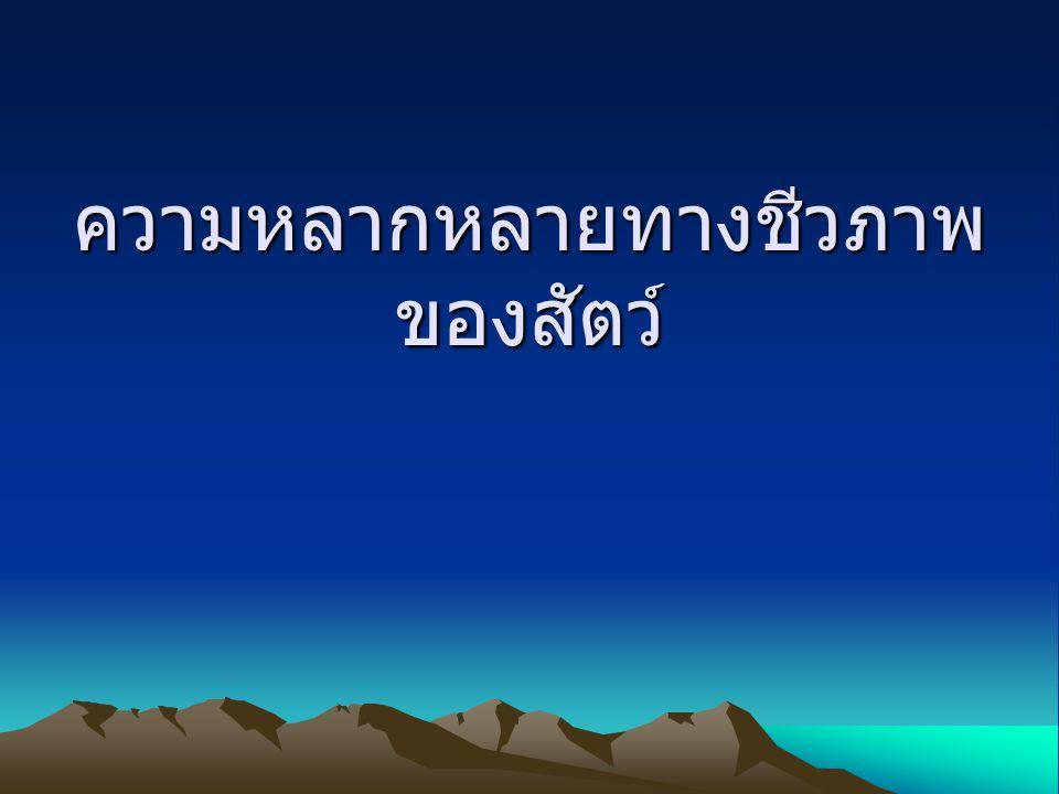 บทนำ ประเทศไทยมีพื้นที่กว้างใหญ่ สภาพดินอุดม สมบูรณ์มีพืชพันธุ์ไม้หลากหลายชนิด จึงทำสัตว์ ป่ามีการอพยพย้ายถิ่นตลอดเวลา ด้วยเหตุนี้ จึงทำให้สัตว์ในประเทศไทยมีความหลากหลาย ทางชนิดเช่นเดียวกับพืช ซึ่งสามารถจำแนก ประเภคของสัตว์ออกเป็นประเภทใหญ่ๆได้ดังนี้ 1 สัตว์มีกระดูสันหลัง 2 สัตว์ไม่มีกระดูกสันหลัง