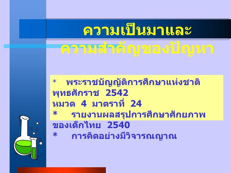 ความเป็นมาและ ความสำคัญของปัญหา * พระราชบัญญัติการศึกษาแห่งชาติ พุทธศักราช 2542 หมวด 4 มาตราที่ 24 * รายงานผลสรุปการศึกษาศักยภาพ ของเด็กไทย 2540 * การคิดอย่างมีวิจารณญาณ