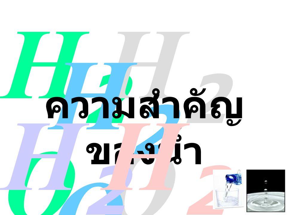 H2OH2O H2OH2O H2OH2O ความสำคัญ ของน้ำ H2OH2O H2OH2O
