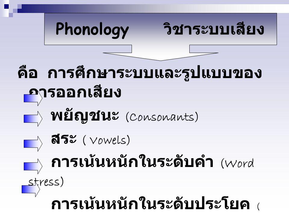 คือ การศึกษาระบบและรูปแบบของ การออกเสียง พยัญชนะ (Consonants) สระ ( Vowels) การเน้นหนักในระดับคำ (Word stress) การเน้นหนักในระดับประโยค ( Sentence stress) ทำนองเสียง (Intonation) Phonology วิชาระบบเสียง