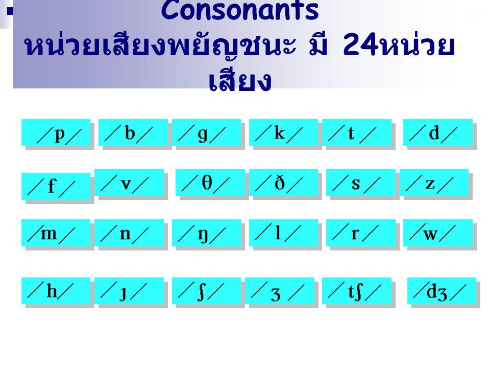 Consonants หน่วยเสียงพยัญชนะ มี 24 หน่วย เสียง